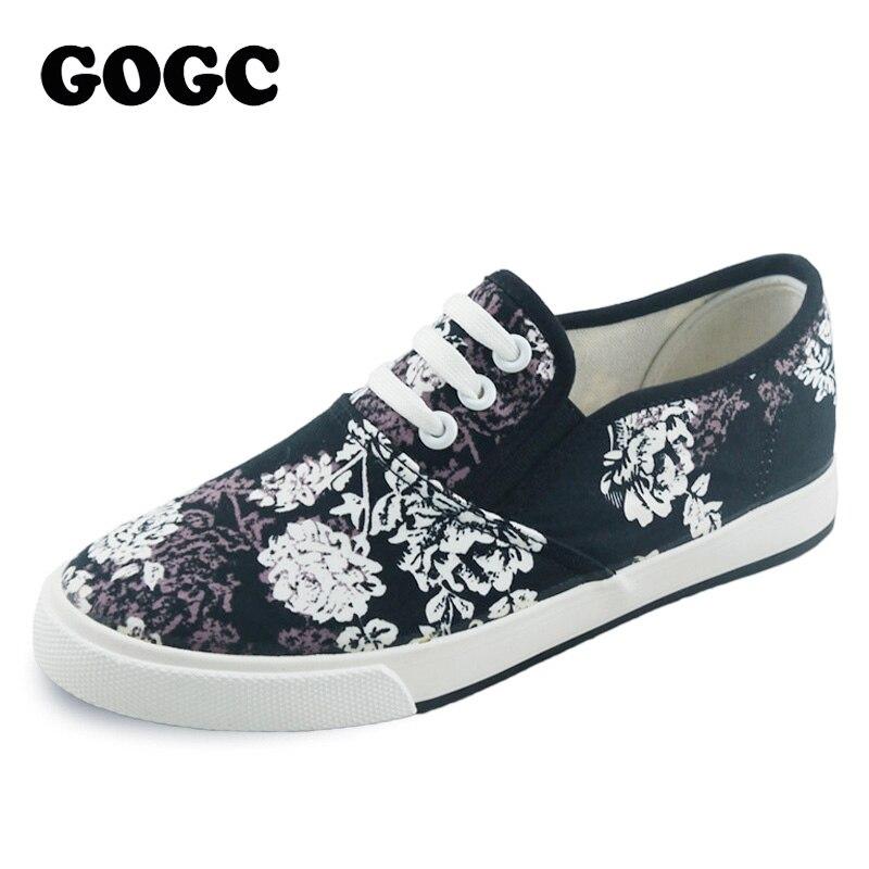 GOGC Marca Zapatos de Lona Florales Mujeres Calzado Cómodo resbalón de Las Mujer