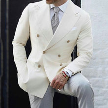 Ivory Men Suits for Wedding Business with Grey Pants Double Breasted 2Piece Terno Masculino Trajes Costume Homme