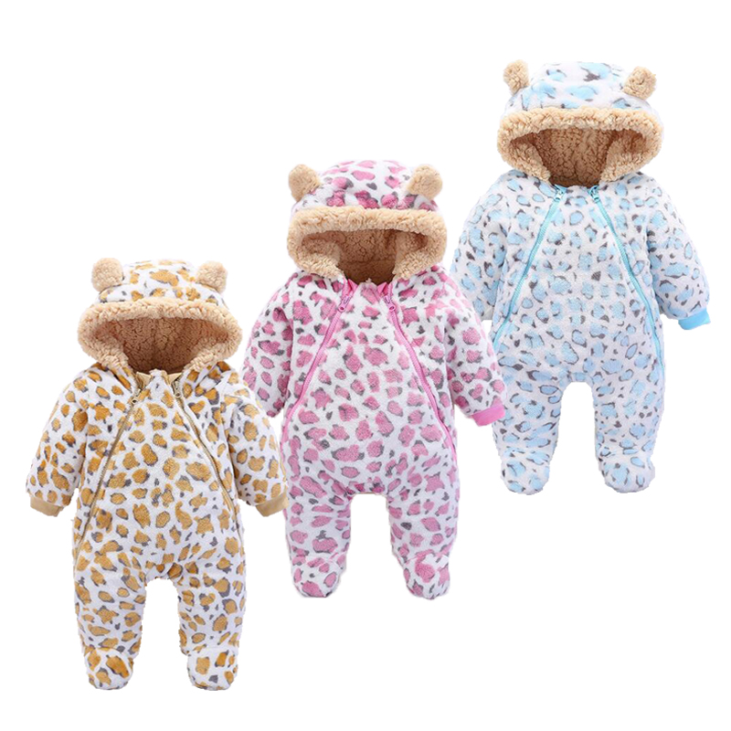 Newborn Baby Girl Clothes Infant Baby Thickened Romper Baby Winter Clothes Hooded Leopard Style Jumpsuit Baby Girl puseky 2017 infant romper baby boys girls jumpsuit newborn bebe clothing hooded toddler baby clothes cute panda romper costumes
