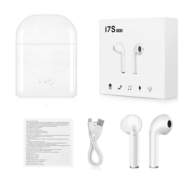 New i7S TWS Mini Bluetooth Earphones Headphones Stereo Bass Wireless Headset Earbuds with Mic Charging Box for All Smart phone