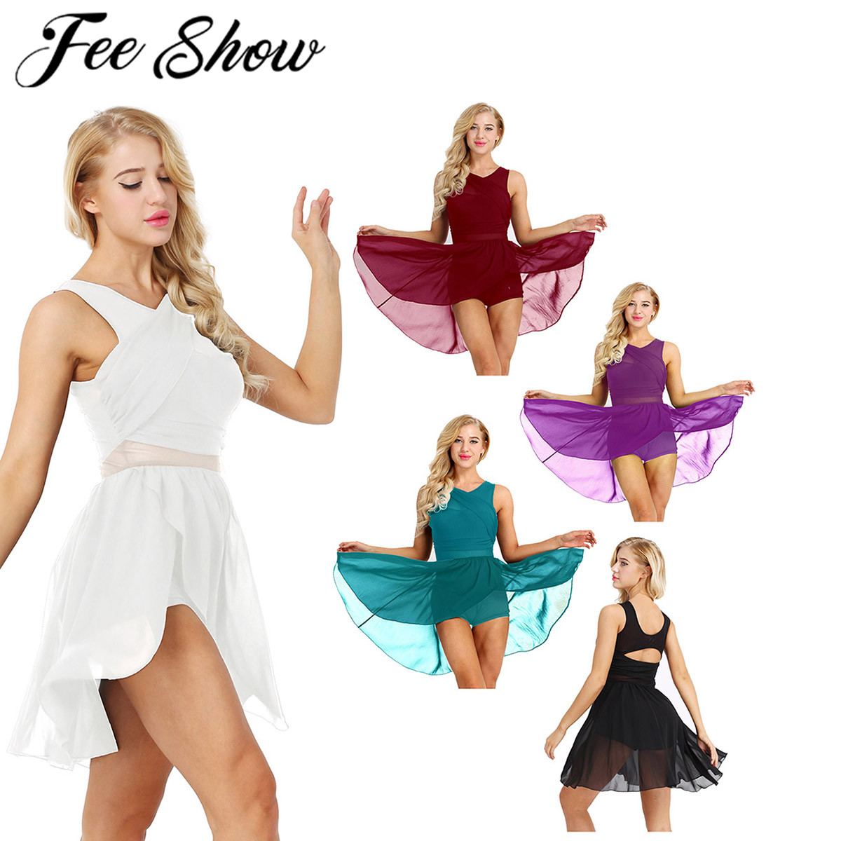 Women Cut Out Asymmetric Ballet Dance Leotard Dress Adult Lyrical Modern Show Dancing Practice Skirt Ballerina High Cut CostumeBallet   -