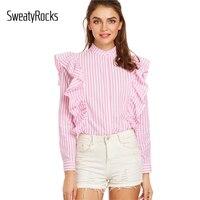 DIDK Pink Vertical Striped Hidden Button Ruffle Blouse Spring Women Shirts Band Collar Long Sleeve Cute