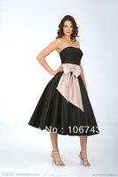 Free Shipping 2014 New Fashion Vestidos Formal Elegant Plus Size Bow Belt Black Short Weddings Party