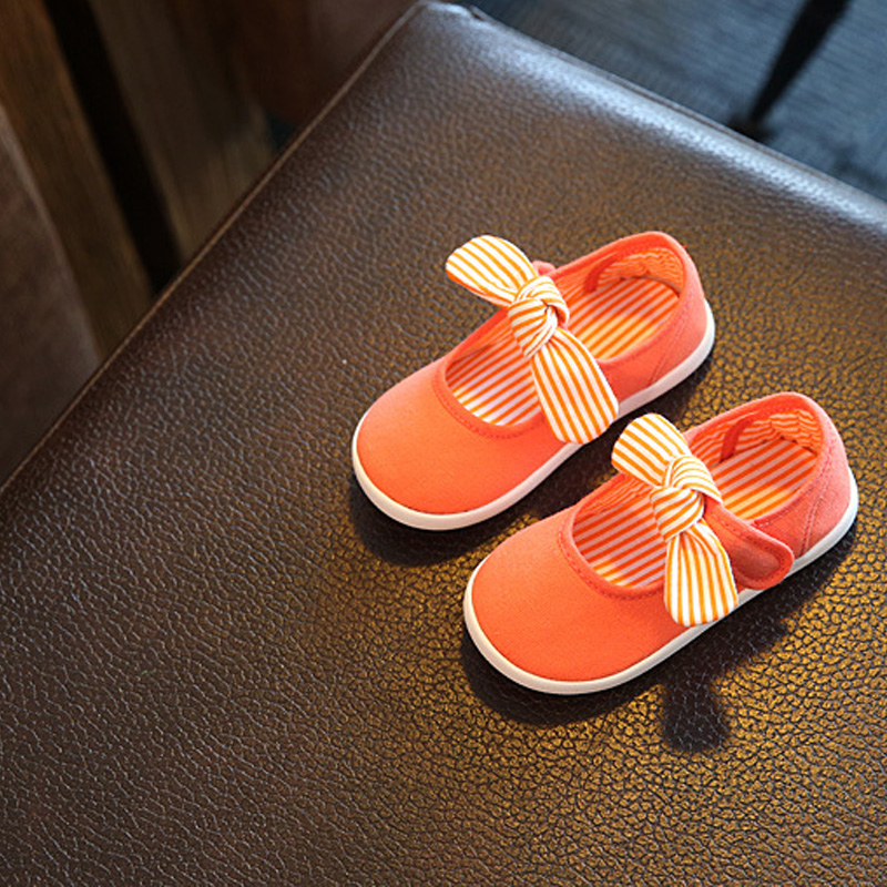 1Pair Orange Baby First Walkers Solid Butterfly-Knot Fashion Soft Canvas Shoes Hook&Loop Lace-up Footwear Crib Shoes All Seasons baby shoes first walkers baby soft bottom anti slip shoes for newborn fashion cute soft baby shoes leather winter 60a1057