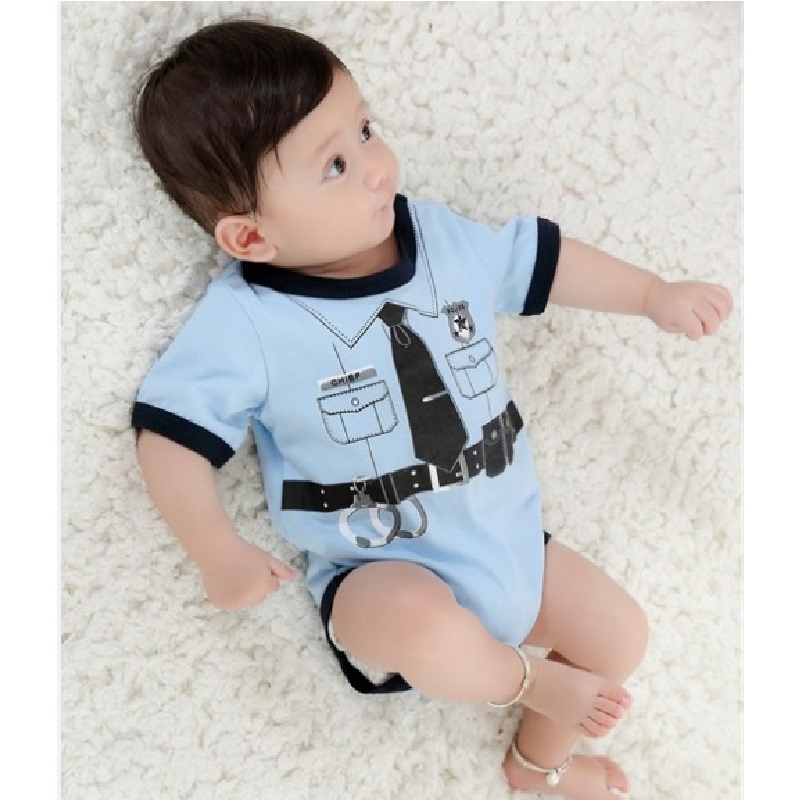 Police Baby Bodysuits Baby Boy Clothes Ropa Bebe Fireman Costumes Jumpsuit For Baby Shortalls 100% Cotton