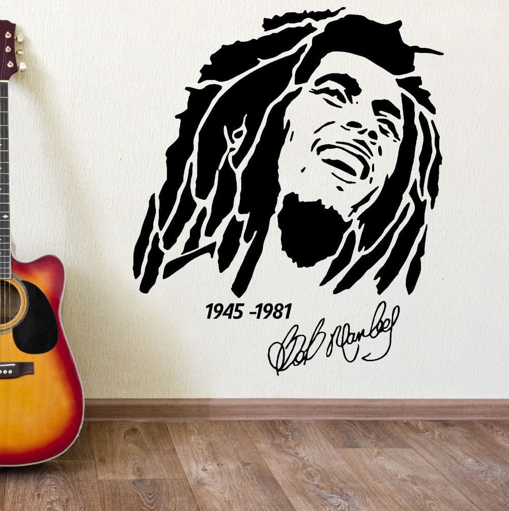 High Quality Thermal Character Sticker Bob Marley 1945 1981 Vinyl Wall Art Decal Stickers Home Bedroom Mural F 124