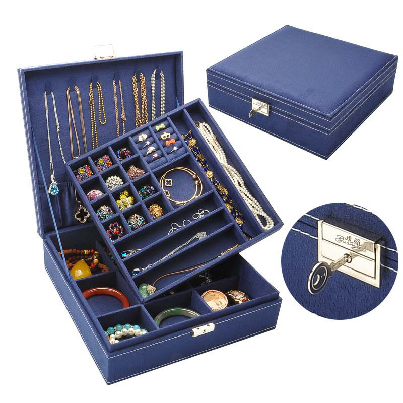 FUNIQUE Wooden Multilayer Flannelette Jewelry Box Large Capacity Women Earrings Necklace Bracelet Carrying Casket for Decoration a suit of retro faux gem multilayer bead necklace and earrings for women