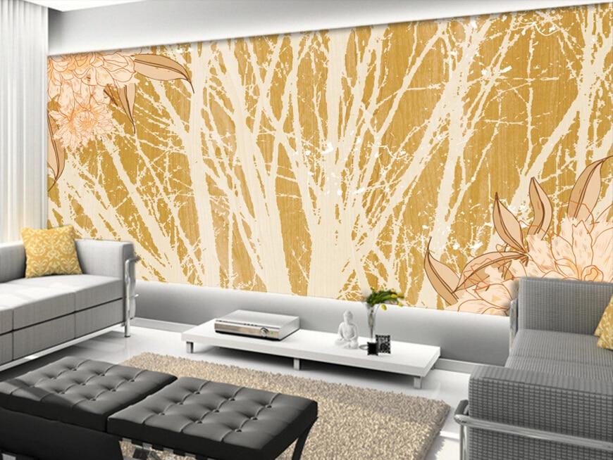 Custom retro wallpaper.Retro impression trees,3D stereoscopic wallpaper for hotel bedroom living room backdrop papel de parede flame trees of thika