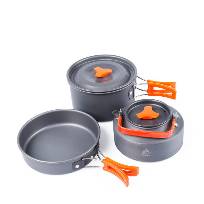 Portable Camping Pot Pan Kettle Set Aluminum Alloy Outdoor Tableware Cookware 3pcs/Set Teapot Cooking Tool for Picnic BBQ цены