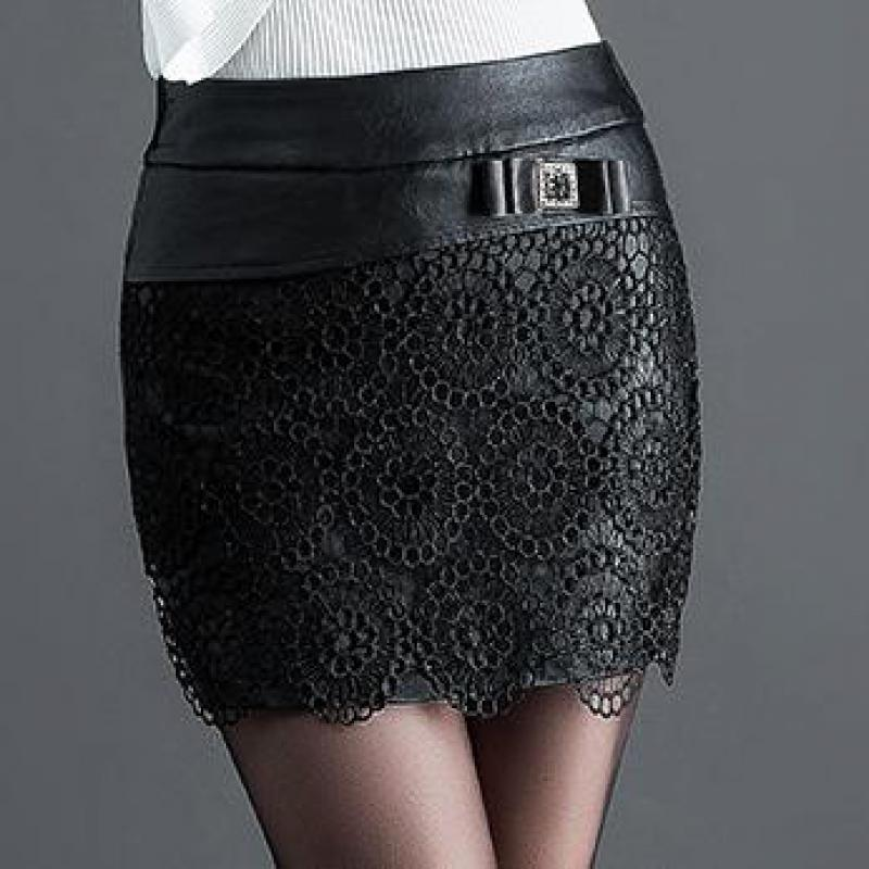Winter Fall Fashion Women Lace Patchwork Black PU Leather Shorts Skirt , Casual 4XL 5xl Slim Elastic Waisted Shorts For Women