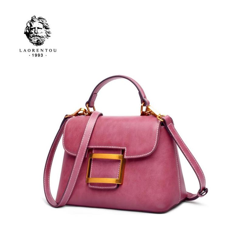 LAORENTOU 2018 New fashion top cowhide women leather bag luxury handbags women bags designer tote women leather shoulder bag fashion leather handbags luxury head layer cowhide leather handbags women shoulder messenger bags bucket bag lady new style