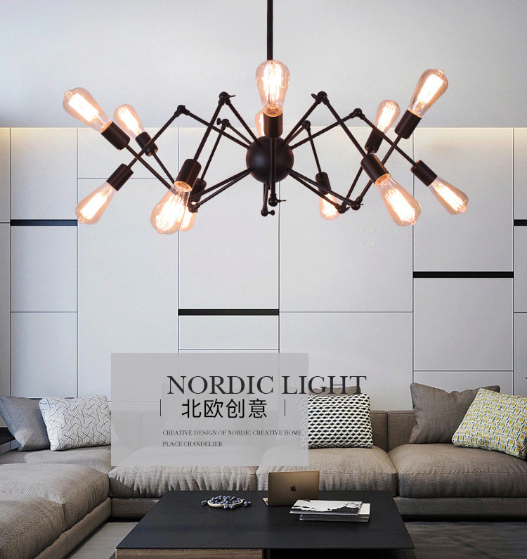Artpad Vintage DIY Industrial Style Pendant Lighting E27 Spider Black Iron Pendant Light Fixture for Drawing