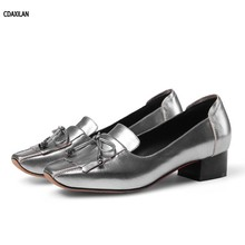 CDAXILAN new arrivals women pumps 3CM low heel shoes genuine cow leather square toe sweet girl ladies summer party casual shoes genuine leather spring autumn summer woman shoes with a sweet flat tip shoes casual square toe crystal fashion girl shoes metal