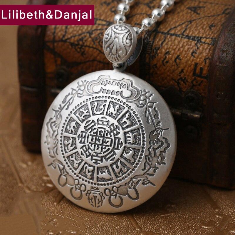2017 bouddha hommes femmes pendentif S999 en argent Sterling ethnique zodiaque collier pendentif mère père noël cadeau bijoux fins FP26