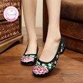 Fase Simei Viejo Beijing Bordados Zapatos de Las Mujeres de Mary Jane Zapatos de Talón Plano Holgazanes Ocasionales Del Estilo Chino Más El Tamaño de Mezclilla Mujer