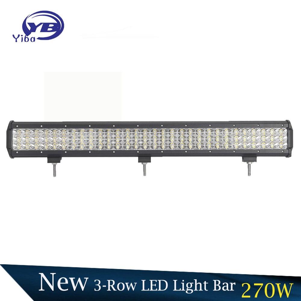 YB Yiba 270w 6D Tri-Row 4X4 car Offroad LED Light Bars IP67 waterproof Combo LED lighting bar 12v auto work light bar аккумулятор yoobao yb 6014 10400mah green