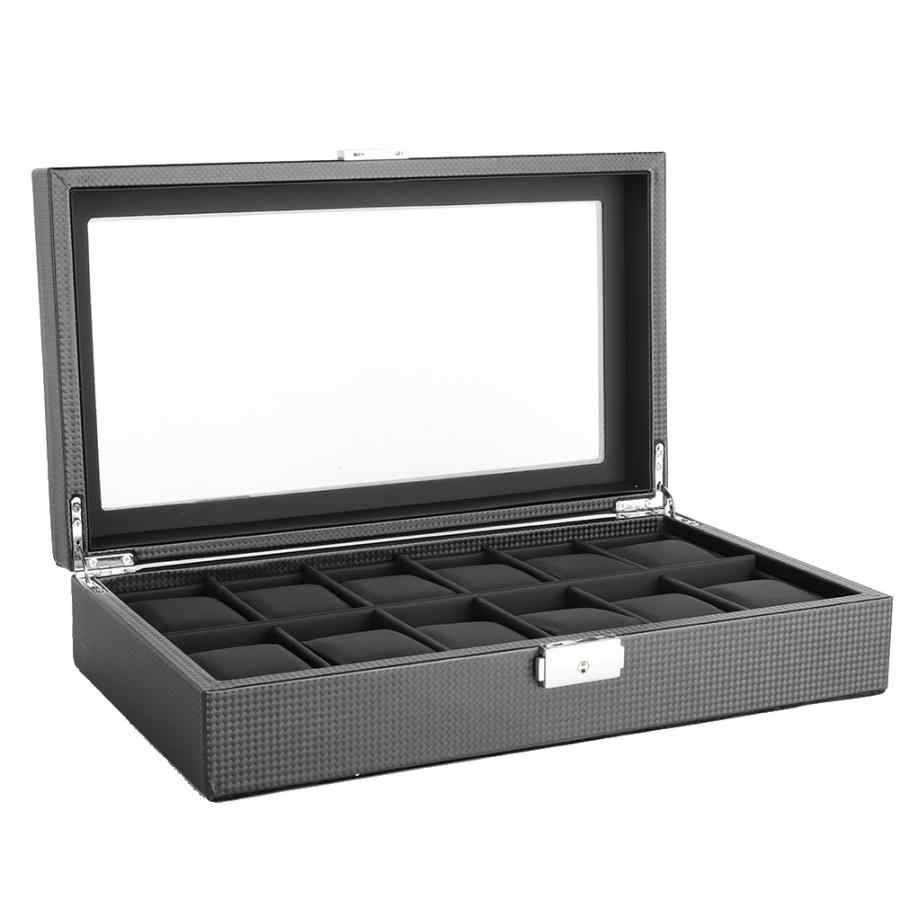 Profesjonalne 12 gniazdo drewniany zegarek pudełko do przechowywania wyświetlacz organizator pojemnik z klucz wysokiej jakości uchwyt na zegarek trumny dla mężczyzn