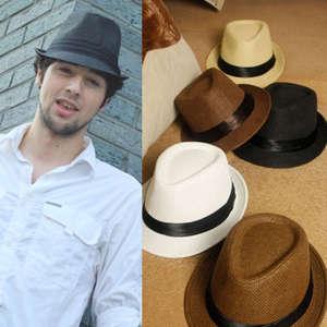 6193f6b263a Beach Hat Sun Panama Gangster Cap Men s Women Trilby Fedora