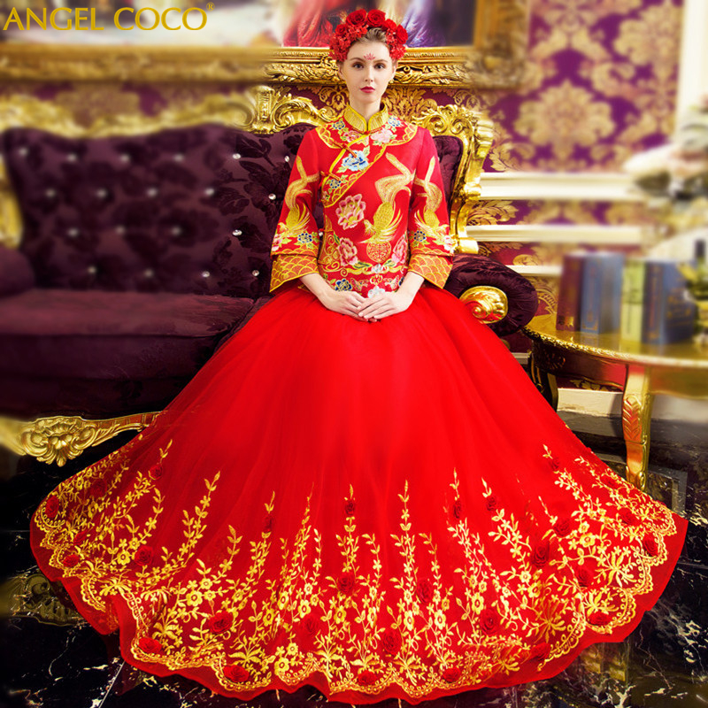 Wedding Gown Fashion Show: Luxury Red Tailing Wedding Dress Elegant Fashion Show