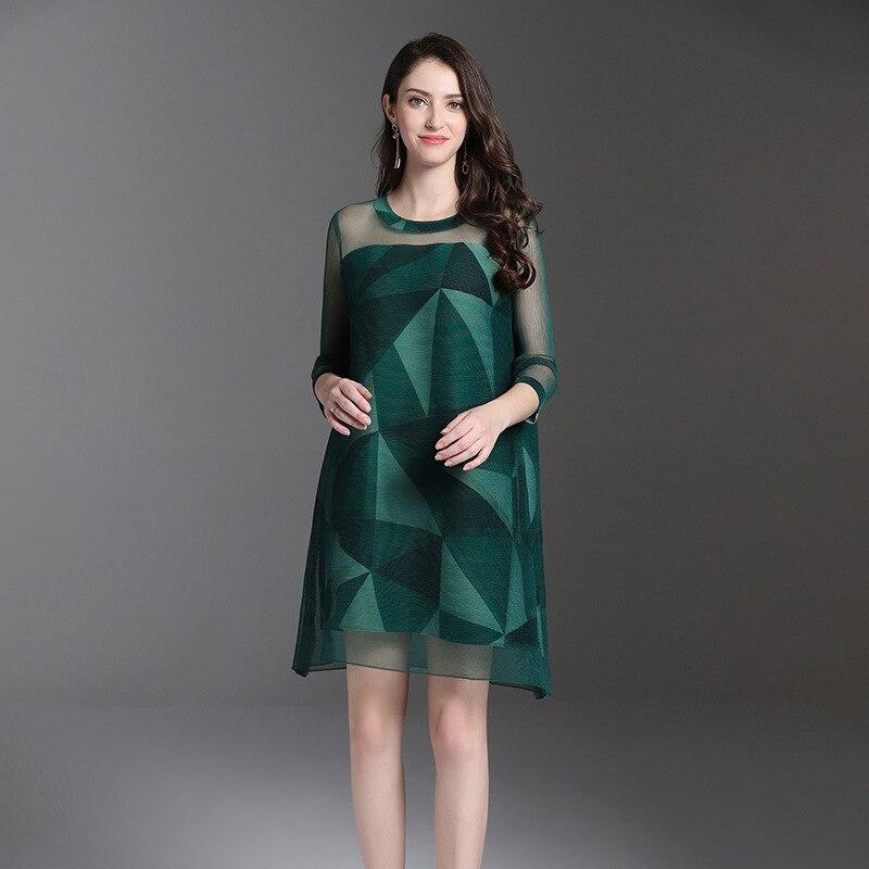 Alta Allentata Della Vestito Formato Nuovo Qualità Molla Di Del Pieghettato Donne green Grande Modo Marea Blue red Ha Stampa rhsQtd