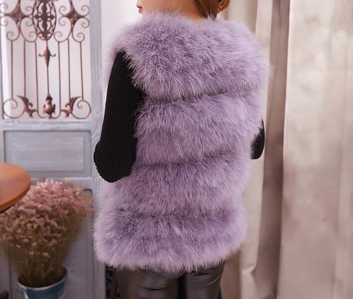 Autruche Naturel Main Réel Manteau Montage pink Gilet Femmes Ksr141 100 Pur Tricoté Véritable De Mince purplegrey Darkgrey Top Fourrure Qualité Plume rcSnYqSWF7