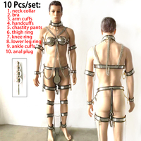 10pcs/set stainless steel bdsm men chastity belt anal plug bra collar hand ankle cuffs cage male chastity device sex products