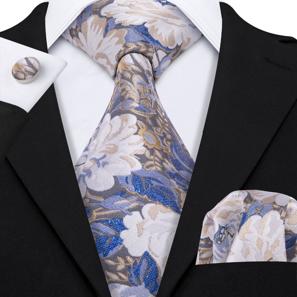 Luxury Floral Wedding Neck Tie For Men Business Party 100% Silk Tie Set Barry.Wang Fashion Design Neckwear Dropshipping LS-5073