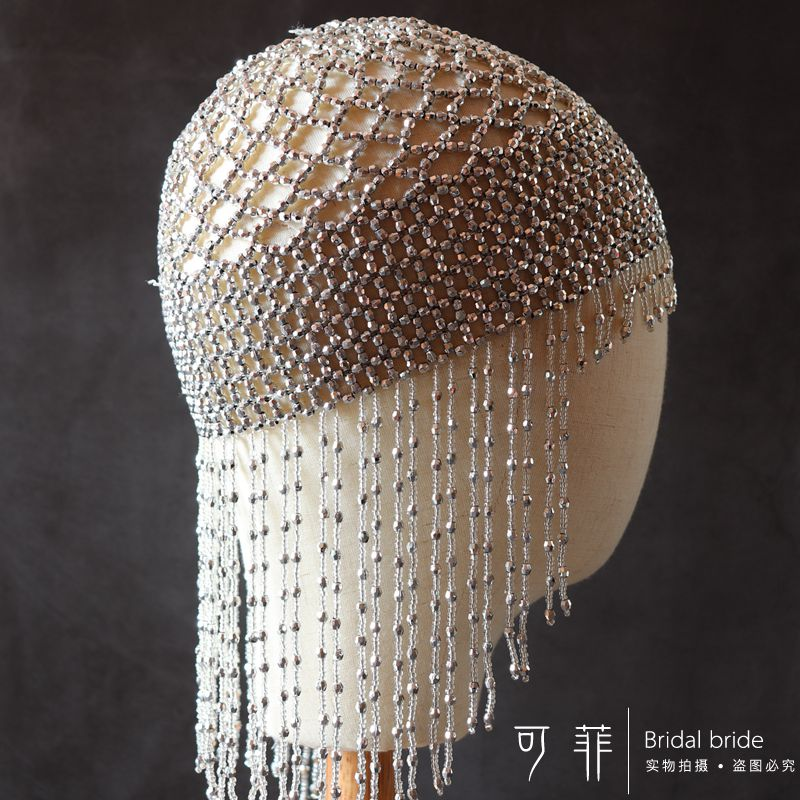 1920s Beaded Cap Headpiece Roaring 20s Beaded Flapper Headpiece Belly Dance Cap Exotic Cleopatra Headpiece for Gatsby Themed Party (Silver)  (4)