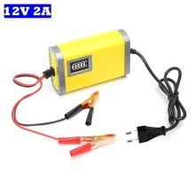 цены на EU 12V 2A Smart Battery Charger Automatic Auto Car Power Supply Lead Acid AGM GEL 12V Motorcycle Charger LCD Display DC13.8V  в интернет-магазинах