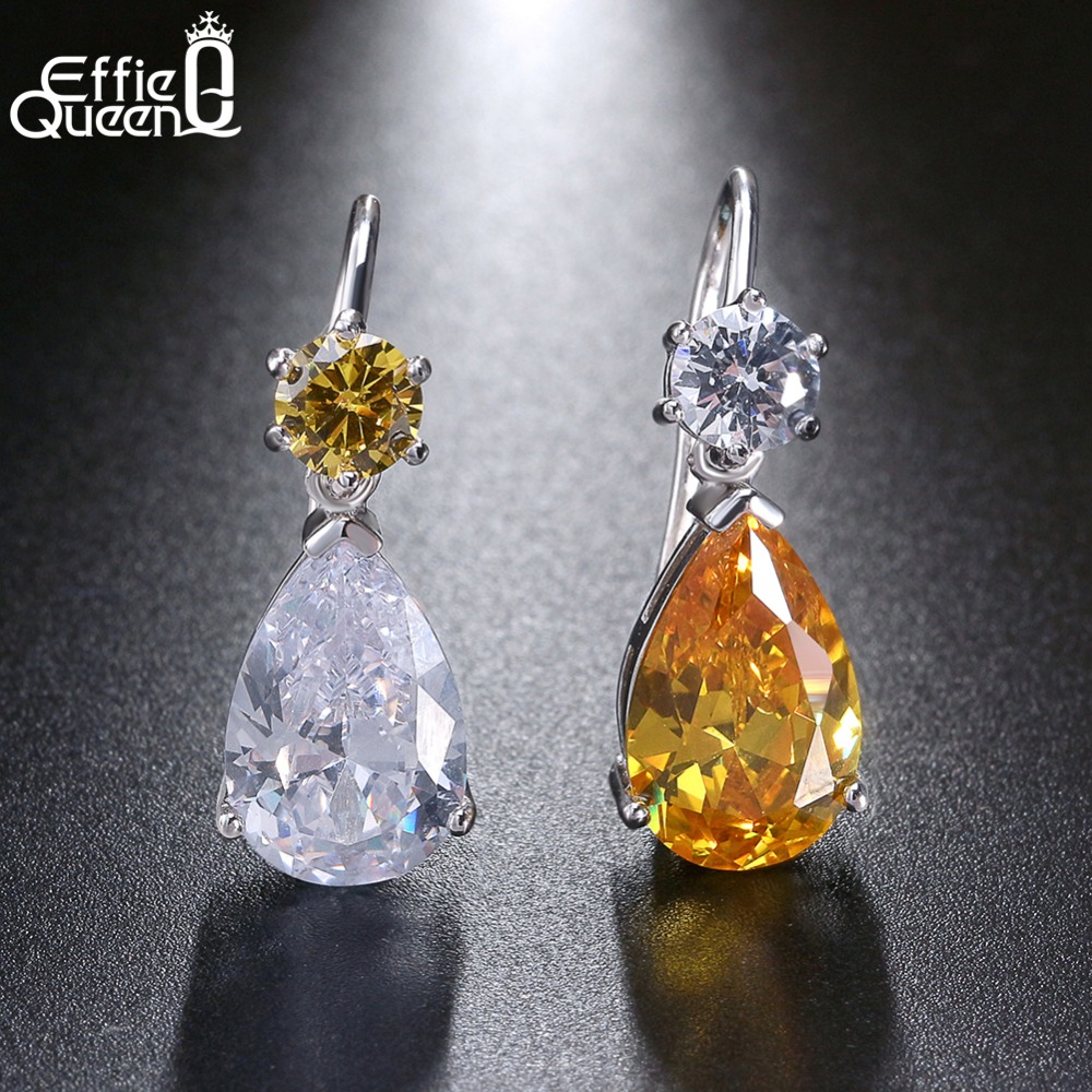 Effie Queen Genuine 925 Sterling Silver Dangle Earrings Contrast color Zircon Wedding Female Asymmetric Drop Earring 2018 BE45 contrast drop earrings
