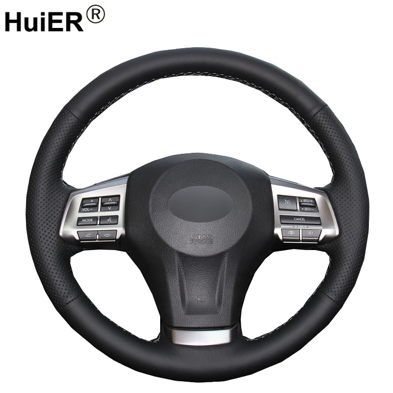 HuiER Hand Sew Car Steering Wheel Cover Black Leather For Subaru Forester 2013-2015 Legacy 2013-2014 Outback 2013-2014 XV 2013 2013