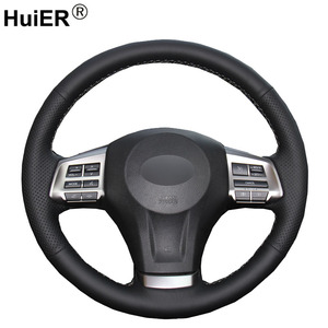 HuiER Hand Sew Car Steering Wheel Cover Black Leather For Subaru Forester 2013-2015 Legacy 2013-2014 Outback 2013-2014 XV 2013