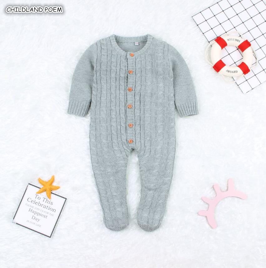 Newborn Baby Clothes Autumn Winter Knitted Baby Romper Long Sleeve Cotton Baby Jumpsuit Infant Boys Girls Romper