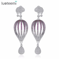 LUOTEEMI Trending Style Dangle Earrings High Quality Cubic Zirconia White Gold Color Asymmetric Female Earrings Fashion
