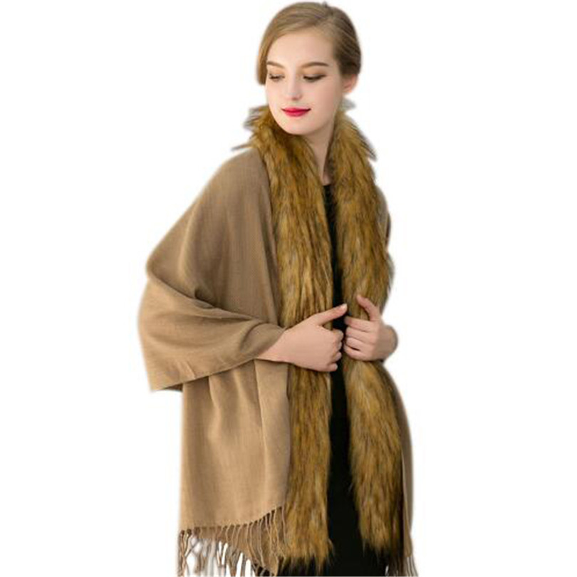 168*63 cm Scarf Fox Fur Knitte Female Scarves For Women Oversized Coat Imitation Khaki Shawl Bandana Stole Cardigan Wraps S221