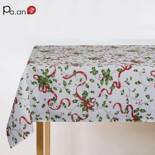 New Christmas Polyester Tablecloth Rectangle Green Tree Red Bells Printed Table Covers Dust Proof Home Festive Decor Fabrics