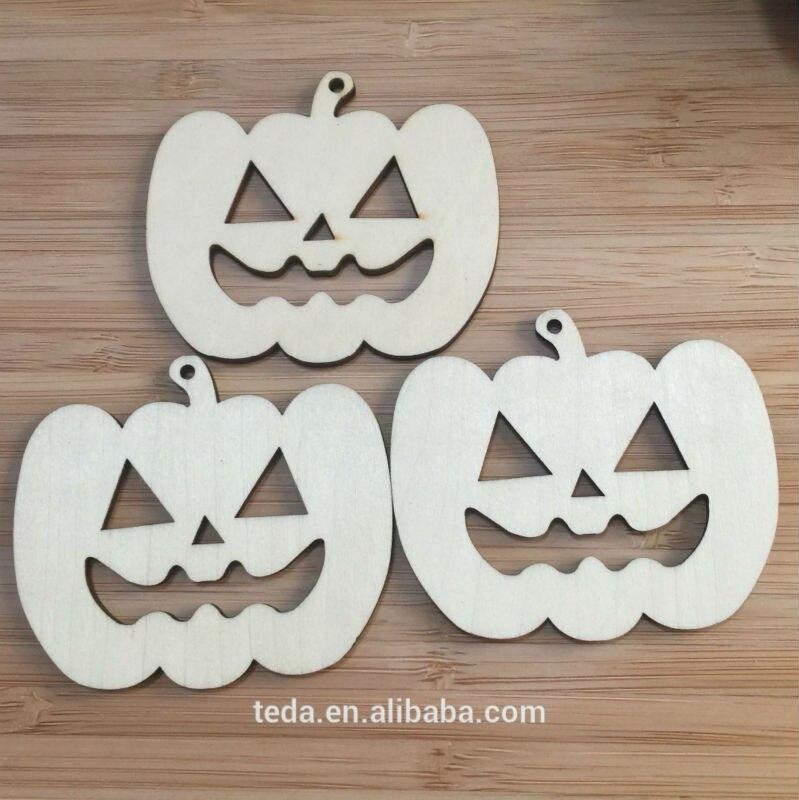 ⊹Madera Diseño de la Calabaza de Halloween decoraciones - a663
