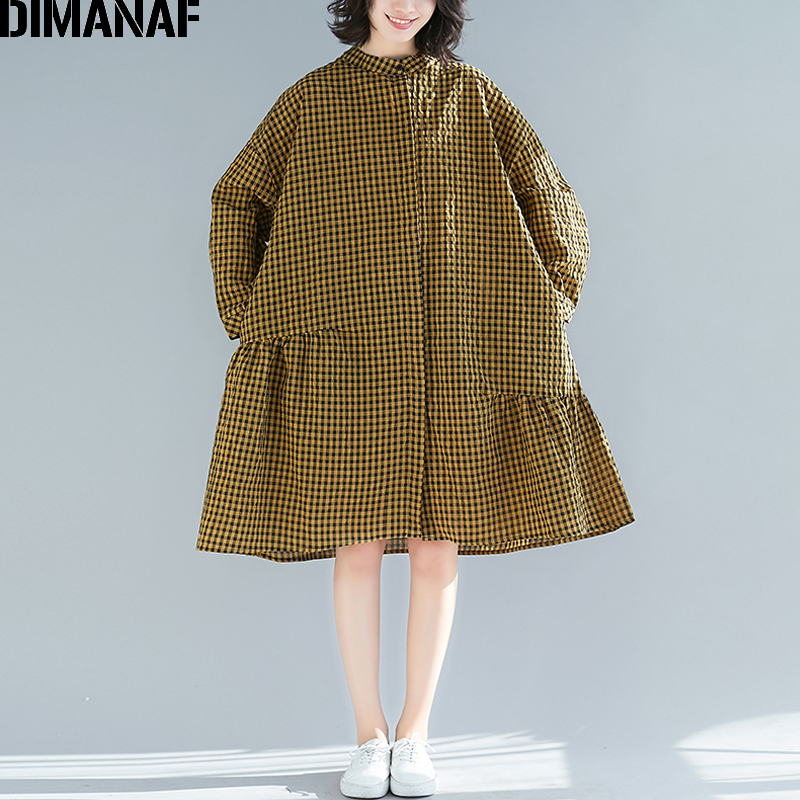 DIMANAF Plus Size Women   Blouse     Shirt   Spring 2019 Long Sleeve Cotton Linen Lady Vestido Plaid Loose Casual Female Clothes 5XL 6XL