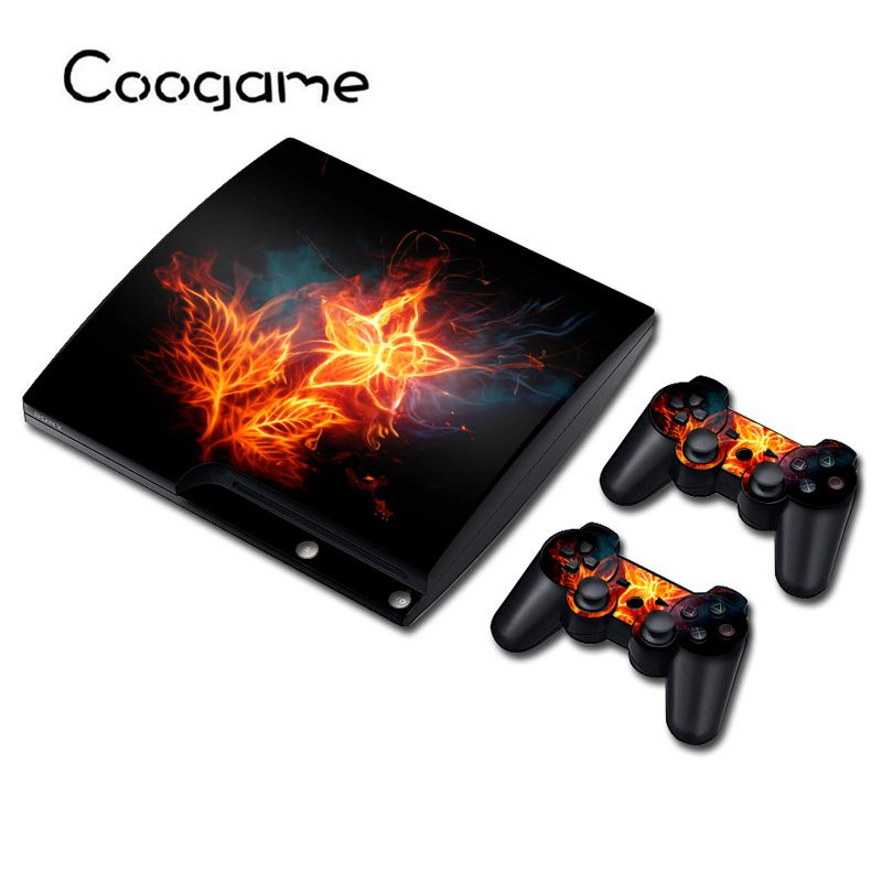 Fire Sticker Skins For Sony PS 3 Slim Console Decal For Playstation3 Slim Wireless Controller Waterproof Wrap