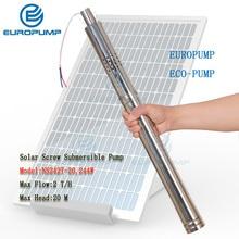 EUROPUMP модель(NS242T-20) 24 В dc Солнечный водяной насос, глубокий погружной насос 50 мм(2 дюйма) Малый диаметр с внутренним contro