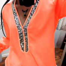 Sexy Sequin V Neck Autumn Blouse Shirts Solid Stitching Shirt Black White Long Sleeve Women Tops Tunic Femme Blusas Female