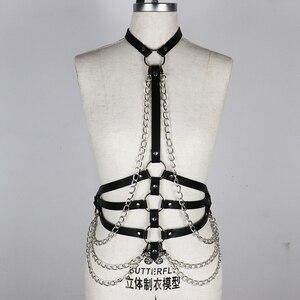 Image 5 - Arnés con correa de cuero para mujer, lencería para Bondage corporal, liguero, arnés corporal, cinturón de cadena, sujetador, jaula, Punk, gótico