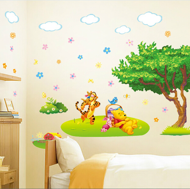 winnie the pooh wall sticker baby kids room poster cartoon wallpaper