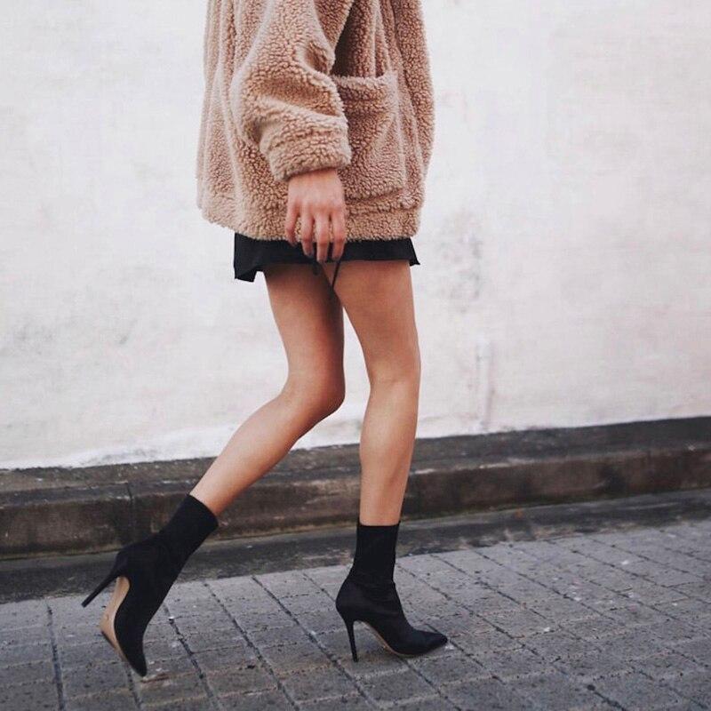 2018 Botines negro Zapatos Venta Lycra Cm Resbalón Para Medio Moda Tacón Alto Caliente Stiletto Las En Rápida Carf Beige Vestido 11 en Mujeres Formal 4qRwg1w
