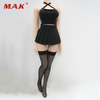 1 6 Scale Sexy Female Black Hanging Neck Halter Shirt Pleated Skirt Fishnets Stockings Set For
