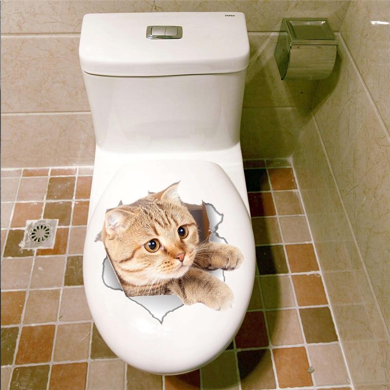 3D Товары для кошек Туалет стены Стикеры отверстие просмотра яркие Ванная комната компьютер холодильник шкаф Декор стен наклейки Книги по и...