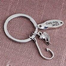 Metal Silver Color Fish Hook Keychain Love You Dad Keyring For Father Daddy Fashion Car Ke