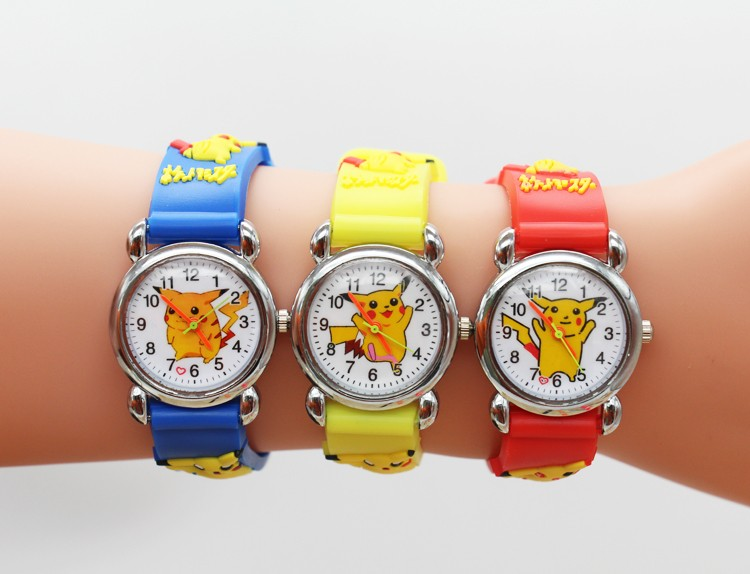 Pikachu 3D Cartoon Children Waterproof Boys Kids Quartz Wristwatches Student Watches Gift
