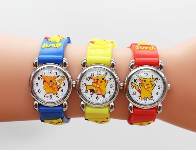 Pikachu 3D Cartoon Children Waterproof Boys Kids Quartz Wristwatches Student Wat