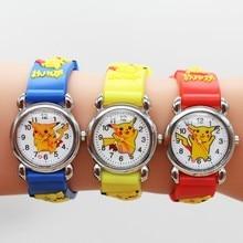 Pikachu 3D Cartoon Children Waterproof Boys Kids Quartz Wristwatches Student